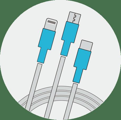 モバイルバッテリーレンタルサービス「ChargeSPOT(チャージスポット)」のケーブル写真